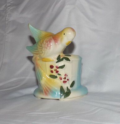 Vintage American Bisque Pottery Company Parakeet Planter 5.5 In Beautiful Euc