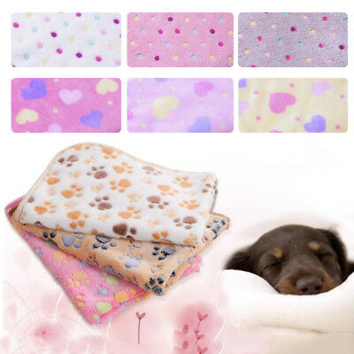 Warm Pet Mat S M L Paw Print Cat Dog Puppy Fleece Soft Blanket Bed Cushion Gift