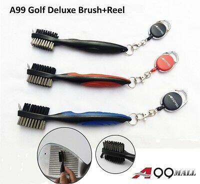 1PC A99Golf Brush Club Groove Cleaner-Deep Clean Iron Grooves+Retractable Reel