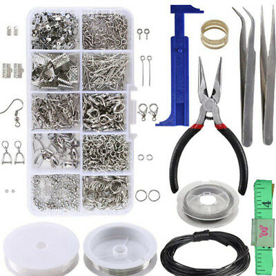 1Set-Large Jewellery Making Kit Pliers Silver Beads Wire Starter Tool Home DIYFB