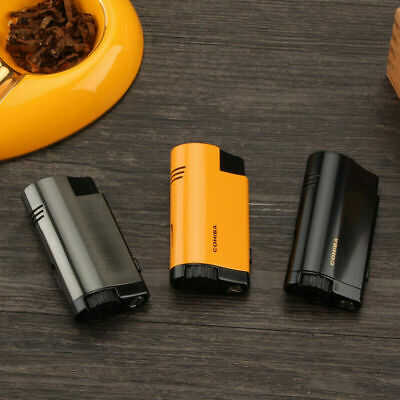 COHIBA Classic Metal Triple Torch Flame Cigarette Cigar Lighter Butane Windproof