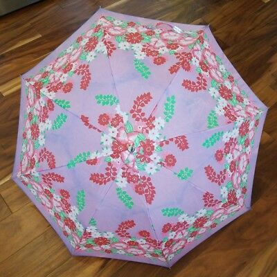 Vtg Floral Purple Pink Red Flowers Rain Umbrella 32 Inch Nylon White Handle