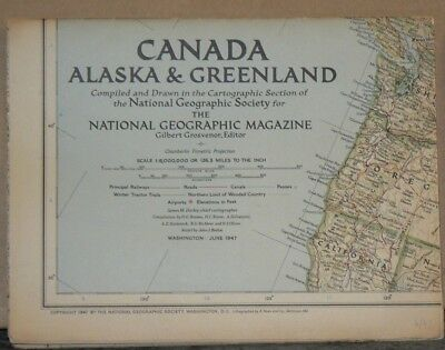Vintage 1947 National Geographic Map of Canada Alaska & Greenland