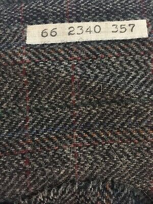 "Vintage Pendleton Heavy Wool Fabric Black Grey Herringbone Plaid 3 yds x 60""wide"