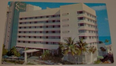 Vintage The Sans Souci Hotel Miami Beach Florida Post Card 1953