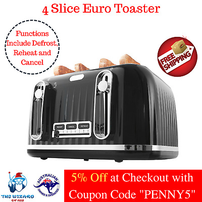 Euro Toaster 4 Slice Black Electric Bread Bagel Variable Browning Home Kitchen