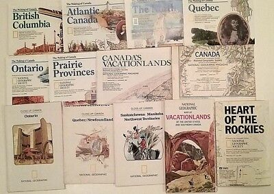 Lot 14 National Geographic Maps CANADA Folded Paper Map, Making of Canada SUPER!