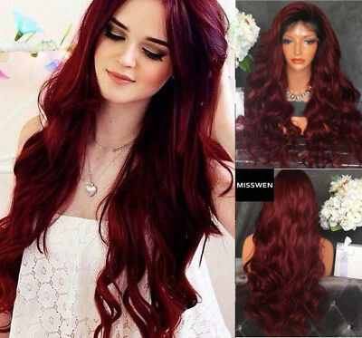 AU STOCK Wine Red black root lace front wig heat resistant synthetic hair wavy