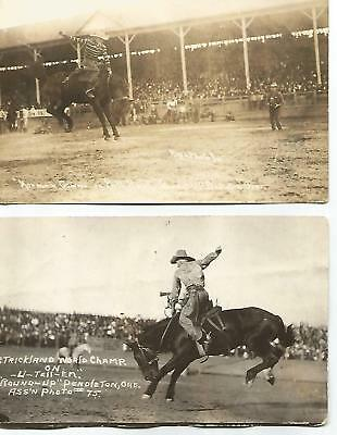 2 Rodeo Round Up Postcards World Champ Strickland & Norman Cowan Bucking Horse