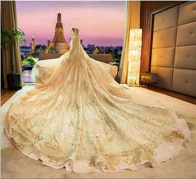 ad51323322f9d LUXURY CRYSTALS BEADING Wedding Veils Cathedral Length 1T Bridal ...