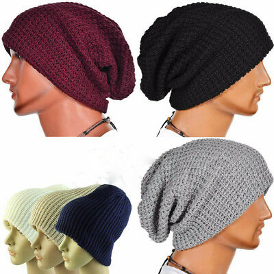 Fashion Men Knit Beanie Hat Baggy Long Slouchy Winter Warm Skull cap Caps FEN