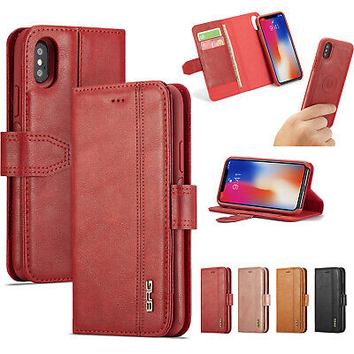 Genuine Real Leather Detachable Card Wallet Magnetic Flip Case For iPhone/Galaxy