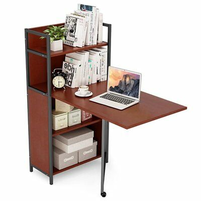 Tribesigns Folding Computer Desk With Bookshelves, PC Laptop Study Writing  Desk