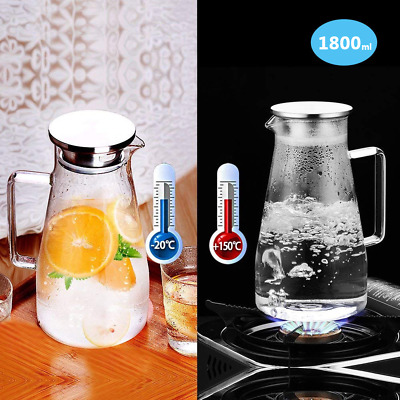 Glass Pitcher 1.5L Jug Water Juice Carafe Cocktail Kettle with Lid Cold/Hot UK