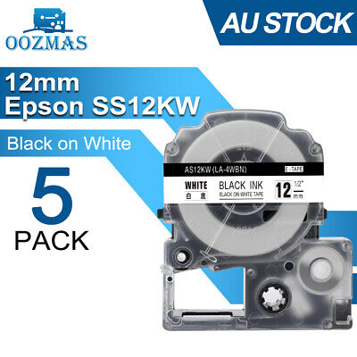 5PK LC-4WBN9 Compatible for Epson Label Tape Black on White 12mm 1/2'' 26' LW300