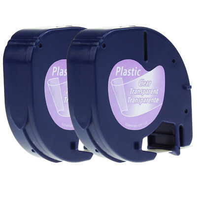 2PK 16952 Compatibel for Dymo Letratag Refill Clear Plastic Label Tapes 1/2 inch