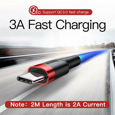 Fast Data Baseus USB Type C Cable Quick Charge QC3.0 USB-C Charging Phone Cable