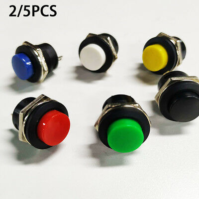 5x Momentary On/Off Push Buttons Horn Switch for Car Auto Mini Round Red ES