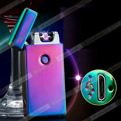 Dual Arc Cigarette Lighter USB Rechargeable Electric Beam Plazma Plush Torch AU