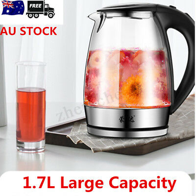 1.7L 304 Stainless Steel High Borosilicate Glass Electric Kettle Blue LED Light