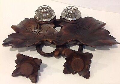Antique Black Forest Carved Wood Twin Ink Well