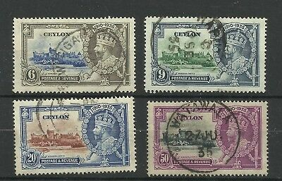 Ceylon 1935 St of 4 Silver Jubilee Issues, Sg 379-382, Fine used, {C/W 543}.