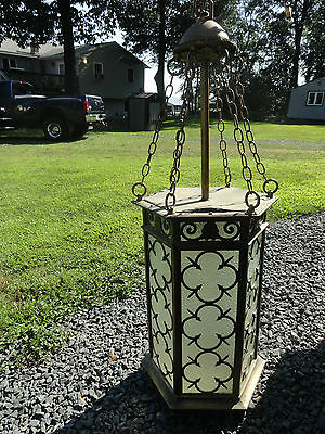 Huge Brass Spanish Revival Hanging Light With Chain Glass Panels