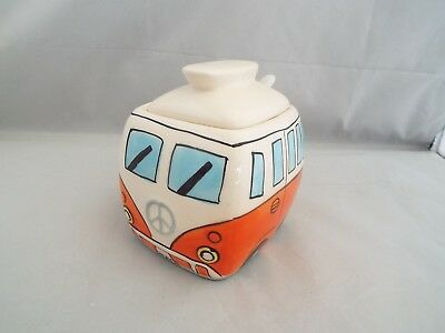Novelty Ceramic Orange Camper Van Sugar Bowl With Lid & Spoon