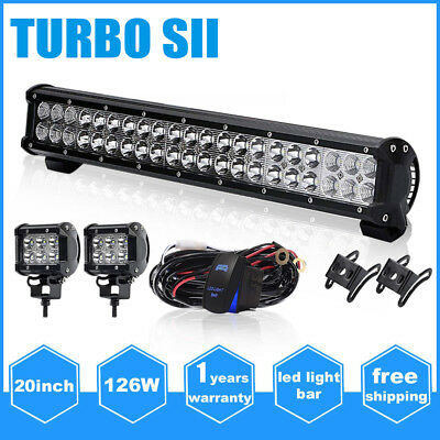 20INCH 126W CREE Led Light Bar Work Flood Spot Driving Offroad For 4WD Truck SUV