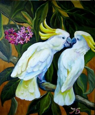 """Unexpected Kiss"" Cockatoo Parrots Love Original Oil Painting by Nadia Bykova"
