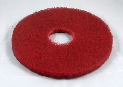 "13"" Red Floor Scrubbing Pad for Commercial Use. Pack of 4."