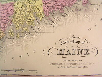 Maine state 1852 S.A. Mitchell antique hand colored nice old map Thompson #91