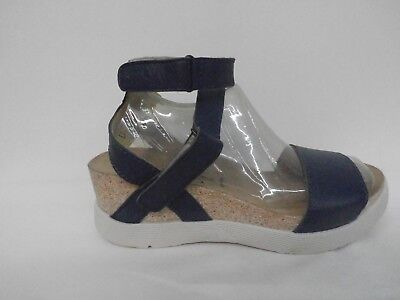 6b205c1648f FLY London Leather Ankle Strap Wedges - Wink MOUSSE BLUE Size 39 (8-8.5