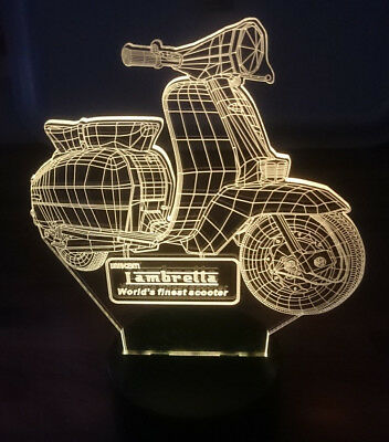 Lambretta World's Finest Scooter LED 3D Acrylic Desk Top Lamp