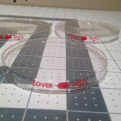 **** Lot Of 3 Kimax Glass Replacement Petri Dish Covers 100x10mm ***
