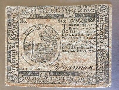 $6 Six Dollars Nov 2, 1776 Continental Currency Note Rare Signed B. Brannan