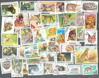 Wildcats on stamps 200 all different stamp collection -Lions-tigers etc