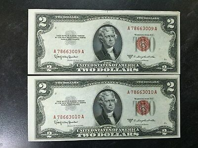 2 1953 Consecutive # United States $2 Dollar Red Seal Bills Beautiful Off Center