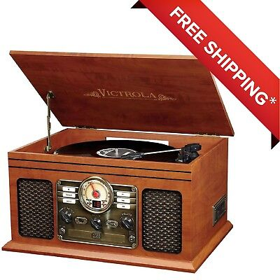 Victrola 6-in-1 Nostalgic Bluetooth Record Player with 3Speed Turntable Mahogany