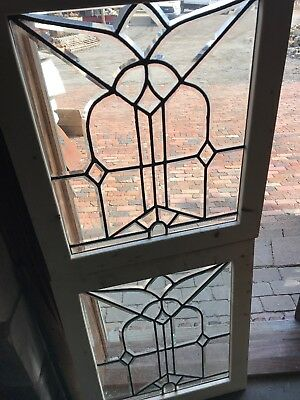 SG 2621 match Pair antique all beveled glass windows 24.75 x 28.5 H
