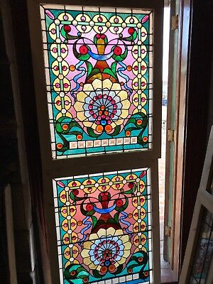 SG 2620 to match Pair antique stained and Jeweled Landing windows 32 3/8 x 41.25