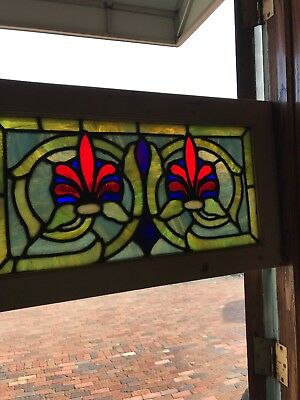 Sg 2625 Antique Stained Glass Transom Window 14 1/4 X 24 3/8""