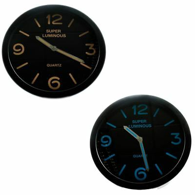 "12"" Glow In The Dark Wall Clock Hanging Bedroom Home Office Quartz Round New"