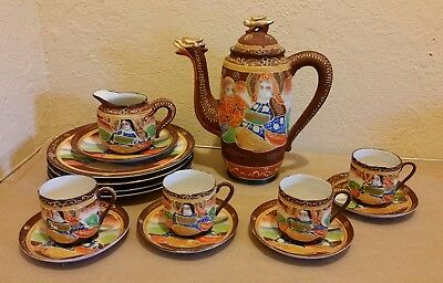 16pc Japanese Moriage Gilded Satsuma Hand Painted Tea pot Set Immortals Japan