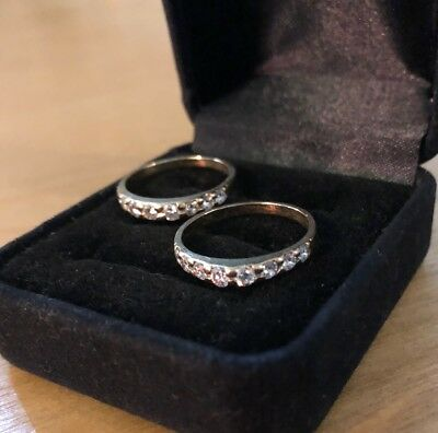 Pair of Women's 14k Gold and Diamond Bands Size 6.5