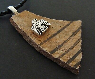 Authentic Old ANASAZI POTTERY SHARDS PENDANT NECKLACE Jewelry - Thunderbird