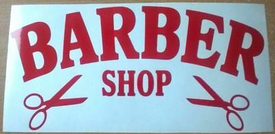 red barber shop sign scissors window mirrors salon barbers pole vinyl sticker