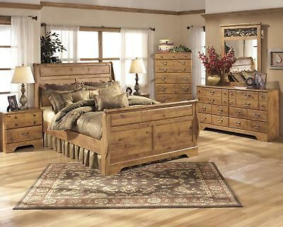 Ashley Bittersweet B219 King Size Sleigh Bedroom Set 6pcs in Light Brown Casual