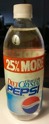 Vintage Clear DIET Crystal Pepsi Glass Bottle w/ Plastic Cap (FULL & CLEAR) 20oz
