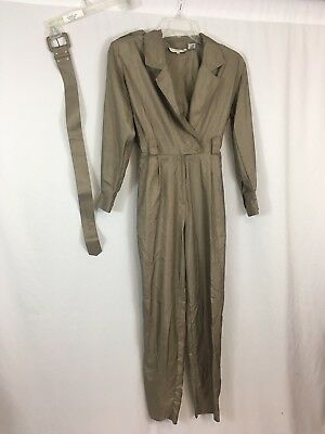 VTG 80s 90s Westbound One Piece Belted Windbreaker Jumpsuit Low Cut 6